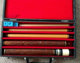 Vintage Pool Cue and Case