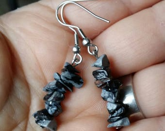 Obsidian snow chips and stainless steel earrings