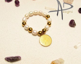 Bracelet of our father pray charm with river pearls