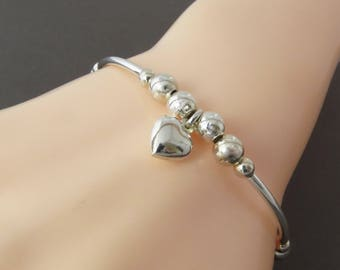 Sterling Silver Bracelet for Women, Silver Heart Charm Bracelet, Silver Bead Bracelet, Simple Bracelet, Stacking Bracelet, Gift for Wife