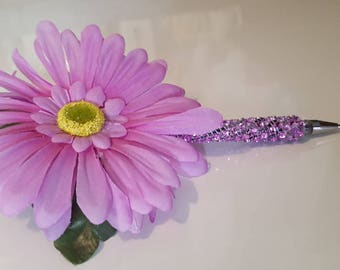 Flower pen/Gebera Daisy/lavender in color/special occasions/Signing pen/Guest Book pen