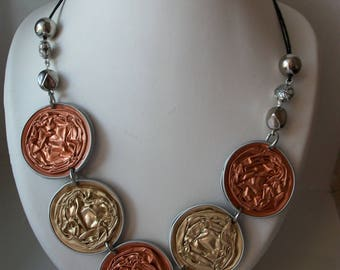 Reversible handmade necklace, salmon and gold. then the other side blue, purple.