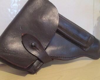 Leather holster, Vintage gun holder, Dark brown leather, Holster for Soviet MAKAROV pistols, Gun case, Weapon case, Leather case,Gift idea