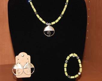 Wire Wound Necklace, with Bracelet and Earrings.  3 piece set