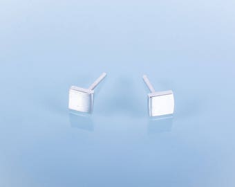 Rough cut square, Sterling Silver studs