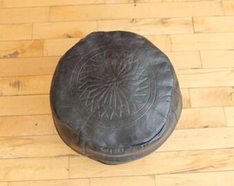 Black Handmade Moroccan Leather Pouf
