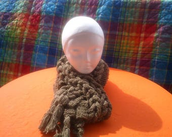 Knitted by hand woven 100% cotton scarf