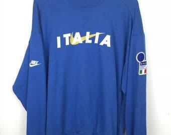Rare!!! Nike Sweatshirt Pullover Big Small Logo Spellout Embroidery Italia Jumper