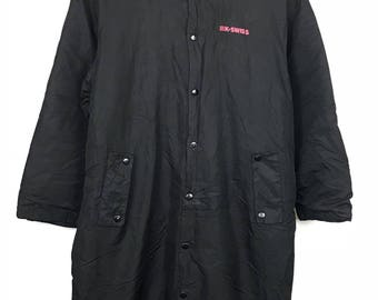 Rare!!! K-Swiss Long Jacket / Parkas Spellout Double Pockets Full Buttons Hoodie