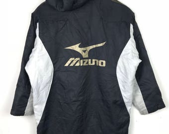 Rare!!! Mizuno Long Jacket / Parkas / Hoodie Big Logo Spellout Embroidery Multicolors Double Pockets