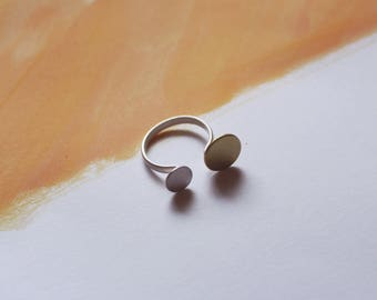 Solstice Ring  | Sun and Moon Ring, Sterling Silver and Brass, Handmade