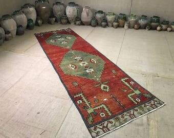 """Madellion rug runner,vintage turkish rug runner, oushak rug runner,3""""2×10'3 ft/100×312 cm"""