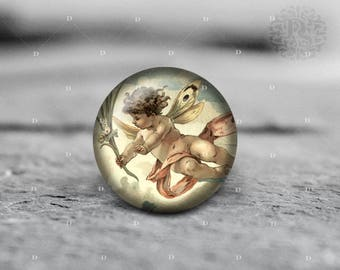 Angel, 25mm 30mm, Round Glass Cabochon, from Diana's Magic Shop