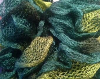 Beautiful shades of green ruffled scarf