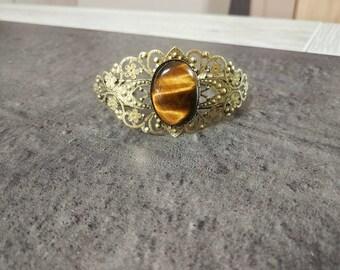 Filigree Cuff Bracelet with gemstone Tiger Œil