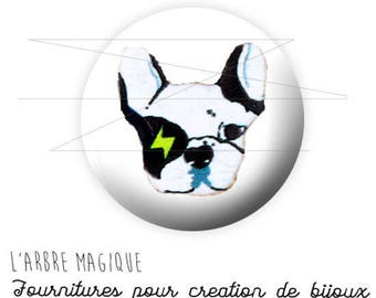 2 cabochons glue ref 1584 - 14 mm glass Pug dog.