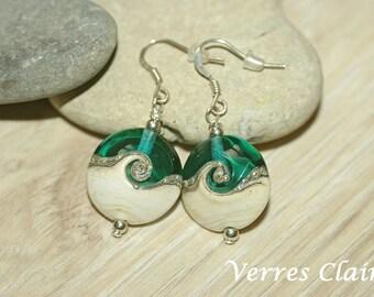 """Earrings green water - ivory """"Twisty"""""""