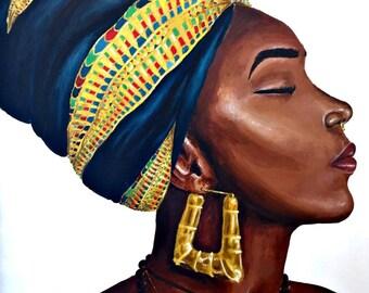 "Black woman painting ""Nefertiti: Look at me now"""