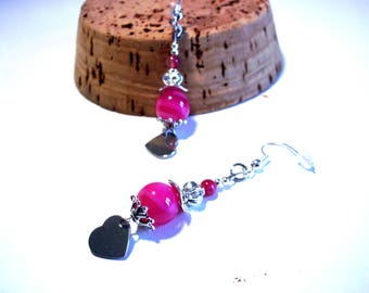 Vintage pink agate earrings.