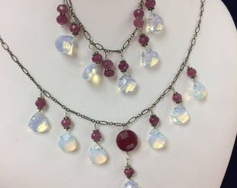 Vintage Opal Crystal and Ruby Matching Necklace and Bracelet