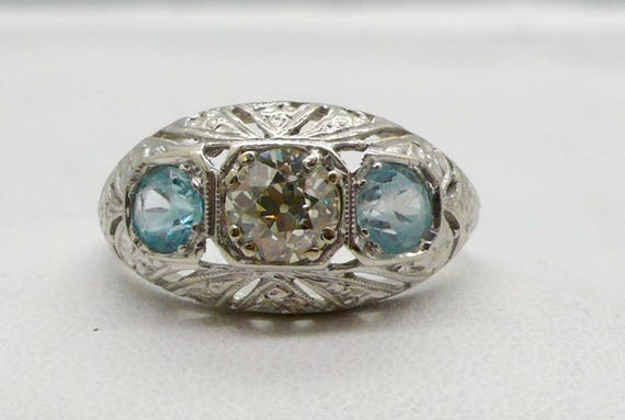 Vintage Diamond Ring with Aquamarine stones set in 14K White Gold