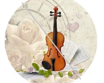 20mm, violin, cream, white rose background