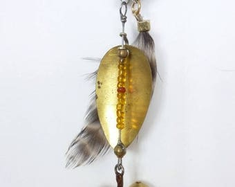 Hook, Brown Feather, Orange and red beads charm
