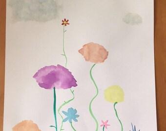 9x12 Original Watercolor Shower the Flowers