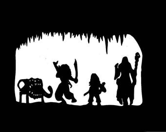 Mimic attack dungeons and dragons paper cutting scene