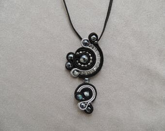 Black and grey soutache embroidered necklace