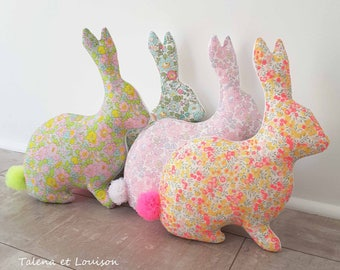 Small pillow rabbit Liberty Betsy pink, honeysuckle, Beryl and Wiltshire Lemon Curd