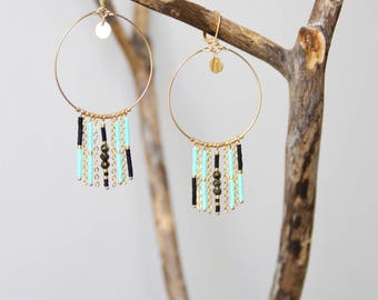Turquoise hoop earrings / gold plated