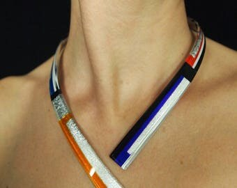 """Necklace """"Minimal Structure"""" saffron yellow and purple with silver foil"""