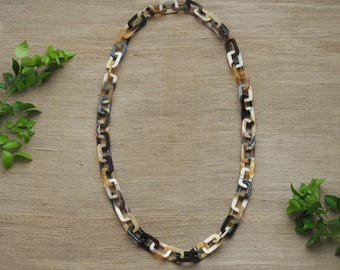 """Buffalo Horn Necklace 40"""" LongChain Natural Material Jewelry"""