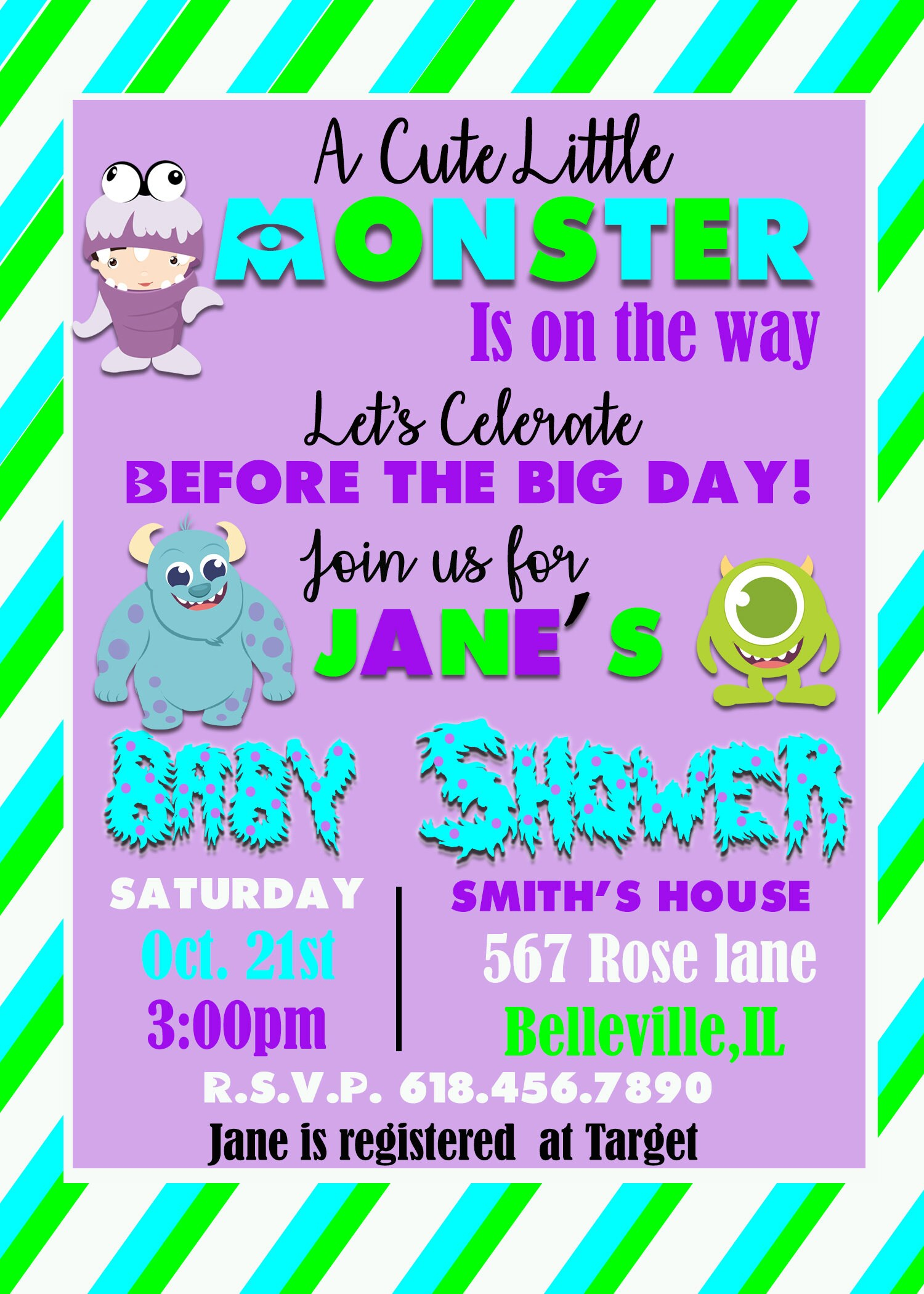Little Monster Baby Shower Invitation Monster Baby Shower Baby ...