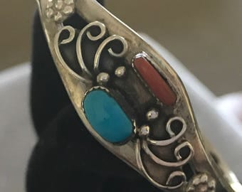 Sterling Turquoise and Coral Cuff Bracelet