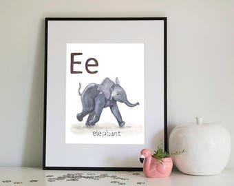 E is for Elephant, alphabet series - Print of Original Watercolour
