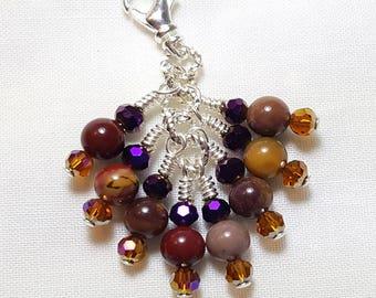 Mookaite Jasper Purple Topaz Crystal Zipper Pull Pendant
