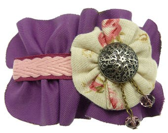 Clip barrette hair clip type thin purple pleated fabric braided flat rose and cabochon embossed decor