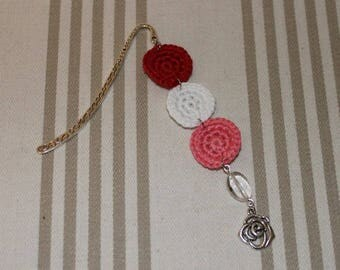 Bookmark crochet cotton red white and pink, silver