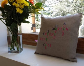 Embroidered with your names anagrams linen cushion