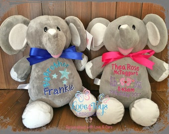 Personalised Elephant Teddy Birth Details,Custom Message