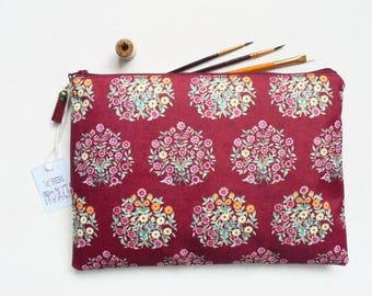 Gifts for her, Wash bag, Raspberry florals, travel bag, cosmetic bag, zip bag, make up bag, large makeup bag.
