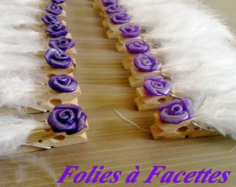 Set of 10 marks places to clip with white feather and flower purple
