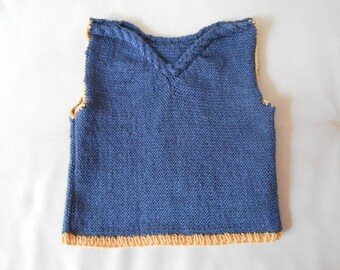 pullover sleeveless knit Navy blue baby and cables