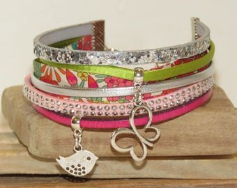 """Cuff Bracelet """"prairie silvery"""" leather with glitter, suede, silk, pastel pink color ribbon,"""