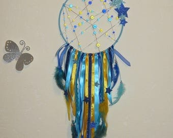 Dream catcher, turquoise, bright blue, yellow mustard, with stars, glitter, magic Pearl, feathers, stars, dreamcatcher,