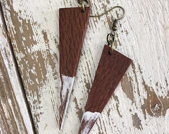 Leopard Wood Triangle Earrings