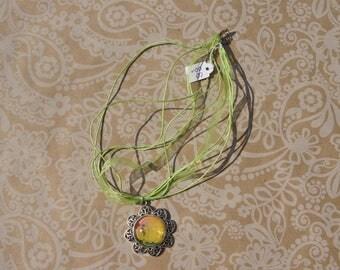 Necklace 'Garden' green yellow pink