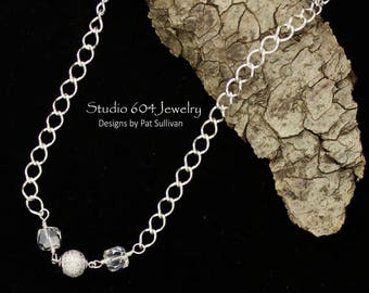 Sterling Silver Necklace with Magnetic Clasp & Swarovski Crystals